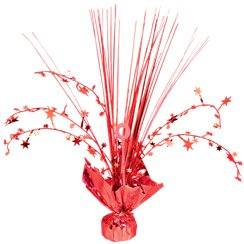 Red Foil Spray Table Centrepiece - 30cm