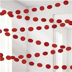 Red Glitter Hanging String Decorations - 2.1m