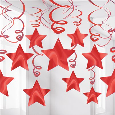 Red Star Hanging Swirls Decoration - 60cm