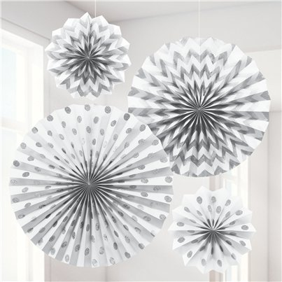 White Paper Glitter Fan Decorations