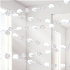White Glitter Hanging String Decorations - 2.1m