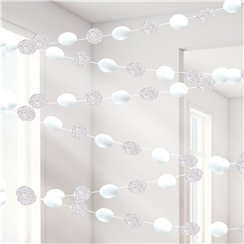 White Glitter Hanging String Decorations