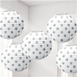 White Foil Dot Hanging Lantern Decorations