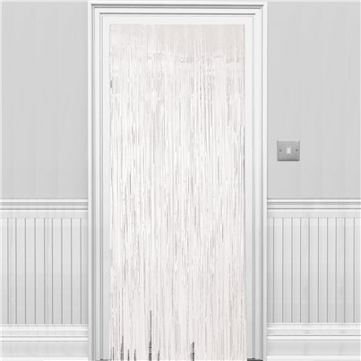 White Metallic Fringed Door Curtain