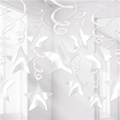 White Star Hanging Swirls Decoration - 60cm