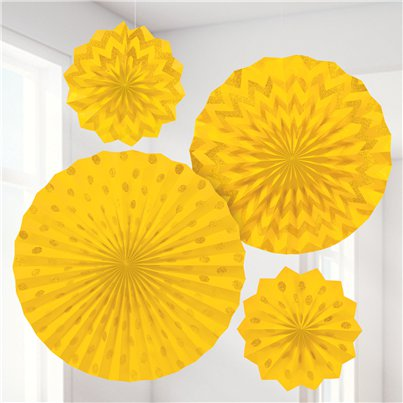 Yellow Paper Glitter Fan Decorations