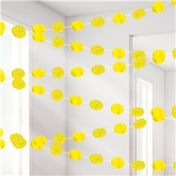 Yellow Glitter Hanging String Decorations - 2.1m