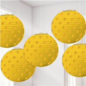 Yellow Foil Dot Hanging Lantern Decorations - 12cm