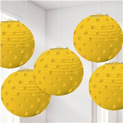 Yellow Foil Dot Hanging Lantern Decorations