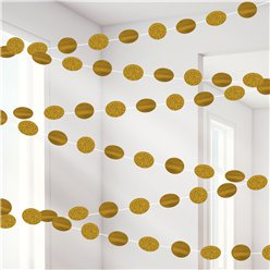 Gold Glitter Hanging String Decorations - 2.1m
