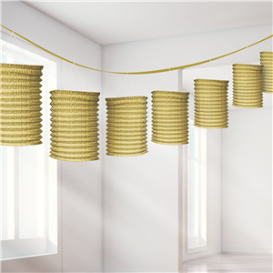 Gold Paper Lantern Garland Decoration - 3.7m
