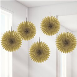 Gold Paper Fan Decorations - 15cm