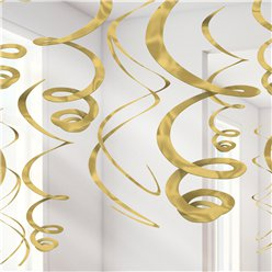 Gold Hanging Swirls Decoration - 55cm