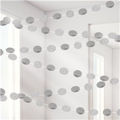 Silver Glitter Hanging String Decorations