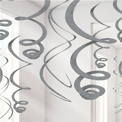 Silver Hanging Swirls Decoration - 55cm