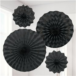 Black Paper Glitter Fan Decorations