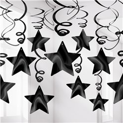Black Star Hanging Swirls Decoration - 60cm
