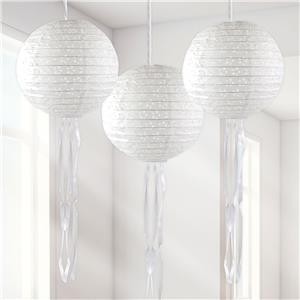 White Paper Embellished Hanging Lantern Decorations