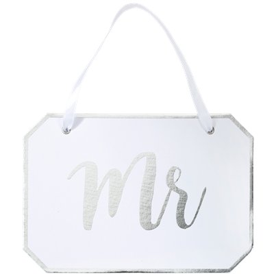 Mr White Wooden Sign Hanging Decoration - 22cm