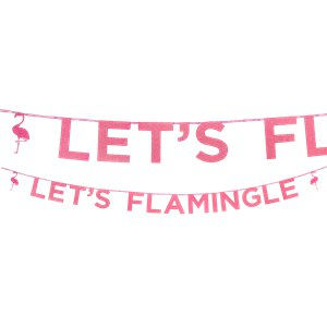 'Let's Flamingle' Flamingo Pink Glitter Letter Banner - 3m