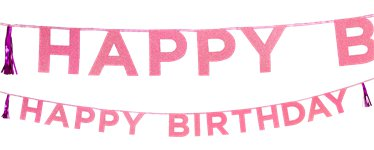 Happy Birthday Pink Glitter Letter Banner - 3m