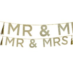 Mr & Mrs Gold Glitter Banner - 2m