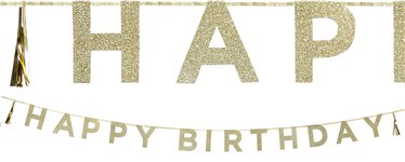 Happy Birthday Gold Glitter Letter Banner - 3m