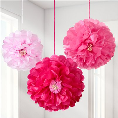 Pink Flower Pom Pom Decorations