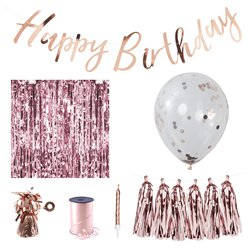 Rose Gold Happy Birthday Decorating Kit