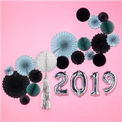 New Year Silver & Black Disco Decorating Kit