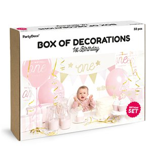1st Birthday Pink & Gold Party Decorations Set