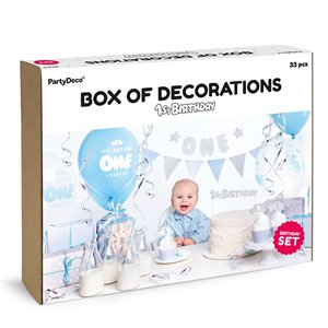 1st Birthday Blue & Silver Party Decorations Set
