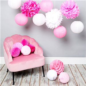 Pink Honeycomb & Pom Poms Decorating Kit