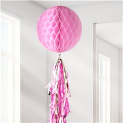 Blush Honeycomb Ball and Tassel Decoration - 30cm