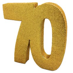 70th Gold Glitter Table Decoration - 20cm
