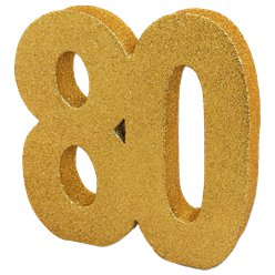 80th Gold Glitter Table Decoration - 20cm