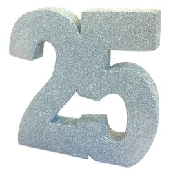 25th Silver Wedding Anniversary Glitter Table Decoration - 20cm