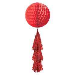 Red Honeycomb Ball with Tassel Tail - 71cm