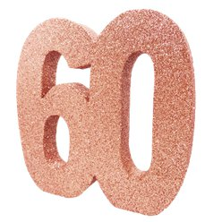 Age 60 Rose Gold Glitter Table Decoration