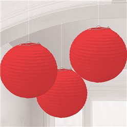 Red Paper Lantern Decorations - 24cm