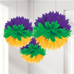 Mardi Gras Pom Pom Decorations - 40cm