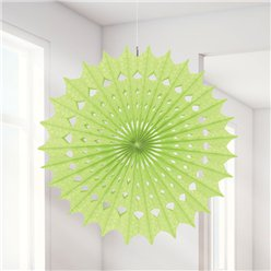 Honeydew Damask Paper Fan Decoration - 40cm