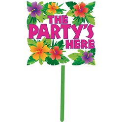 The Party's Here Summer Garden Sign - 38cm Hawaiian Decoration