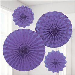 New Purple Paper Glitter Fan Decorations