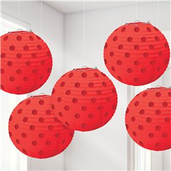 Red Foil Dot Hanging Lantern Decorations