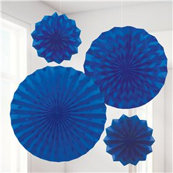 Royal Blue Paper Glitter Fan Decorations