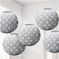 Silver Foil Dot Hanging Lantern Decorations