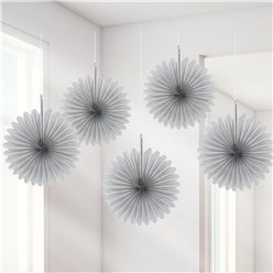 Silver Paper Fan Decorations - 15cm