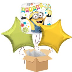 Minions Party Balloon Bouquet - Delivered Inflated