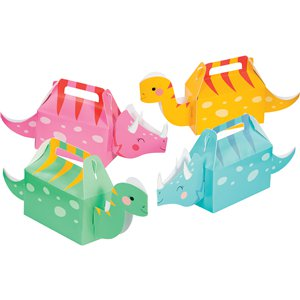 3D Dino Girl Party Boxes - 13 x 31cm
